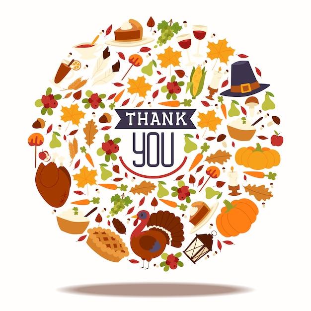 伝統的なトルコとフルーツパイ、カボチャ、キャラメルリンゴ、キノコ収穫ベクトルイラストと感謝祭の休日構成。 Premiumベクター