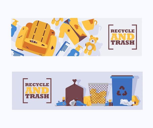Рециркулируйте иллюстрацию вектора знамен концепции отхода и погани. мусорные отходы неправильно размещены вокруг синей пластмассовой мусорной корзины. переработанный мусорный бак. мусор на земле Premium векторы