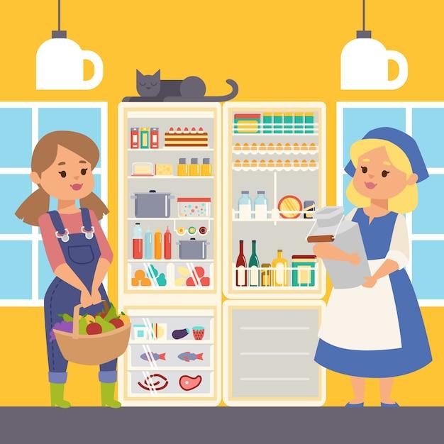 食品イラストの冷蔵庫。牛乳と果物と野菜のバスケットを保持しているオープンクーラーの近くに立っている女性農家のキャラクター。棚の上の肉と魚。 Premiumベクター