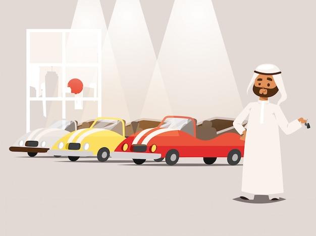 駐車場のイラストに近い伝統的な服を着ているアラブのビジネスマン。漫画のキャラクターのイスラム教徒 Premiumベクター
