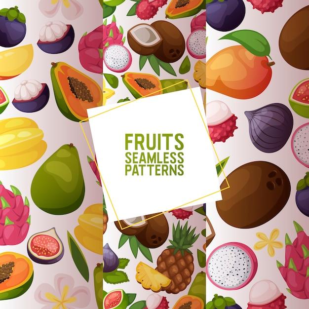 フルーツシームレスパターンフルーティーなアップルバナナとエキゾチックなパパイヤ Premiumベクター