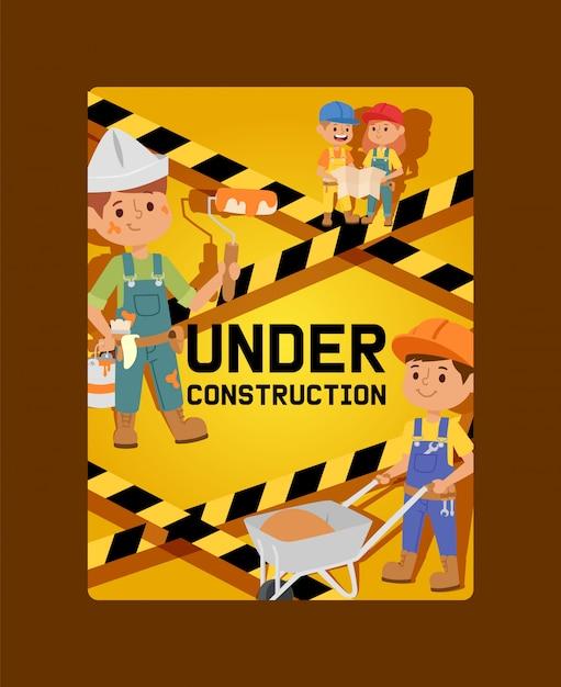 建設カード子供ビルダーキャラクターデザインイラストの建物の下で Premiumベクター