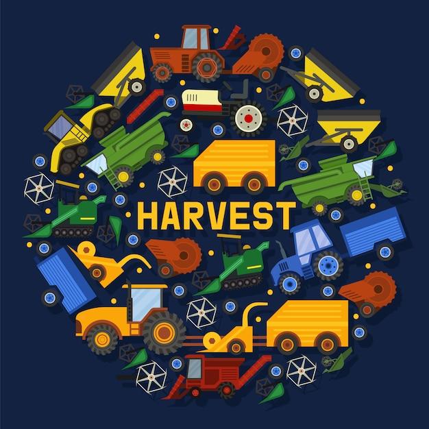 収穫機構成図。農業用機器。産業農場 Premiumベクター