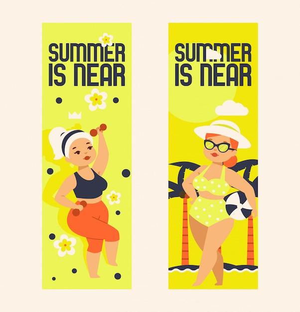 夏はセットの図に近いです。プラスサイズのスポーツウェアにダンベル付きの女の子、メガネ、帽子、ボール付きの水着。 Premiumベクター