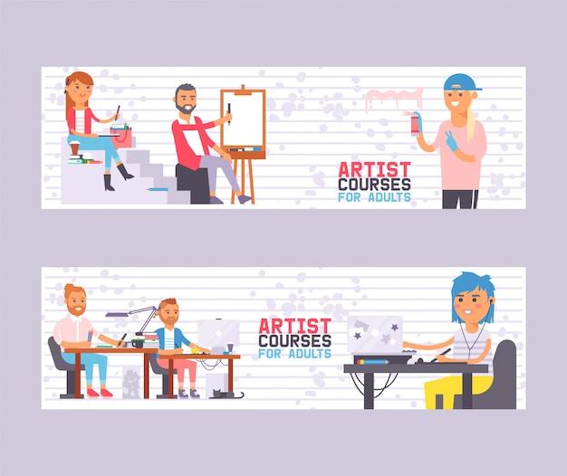 バナーベクトルイラストの大人のためのアーティストコースを設定します。学生画家とのクラス。描くことを学ぶ人々。アーティストのアートスタジオグループ。 Premiumベクター