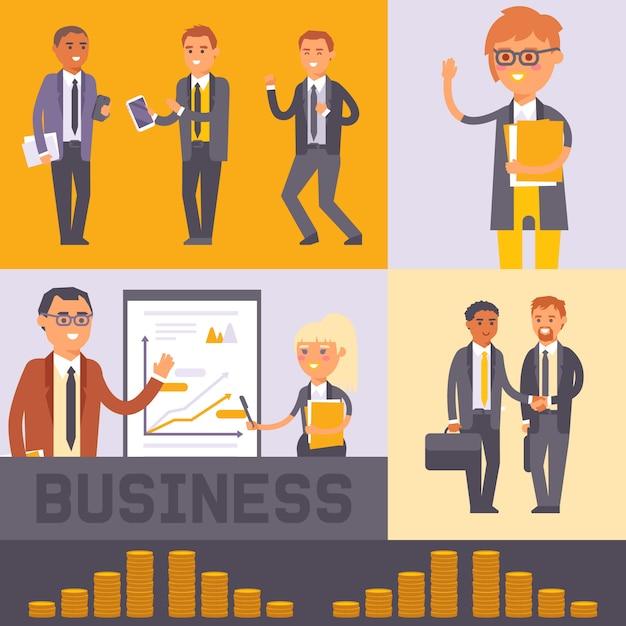 フラット人実業家文字ベクトルイラスト。ビジネスの男性と女性のフォーマルな黒のスーツが握手します。労働者チーム。プレゼンテーションの近くに立っている人 Premiumベクター