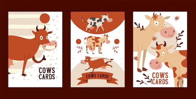 Любопытная глупая корова ест траву с вакантным взглядом набор карточек забавный зверёк, крупный рогатый скот, говорящий му, показывая хорошо знаком с пальцем. Premium векторы