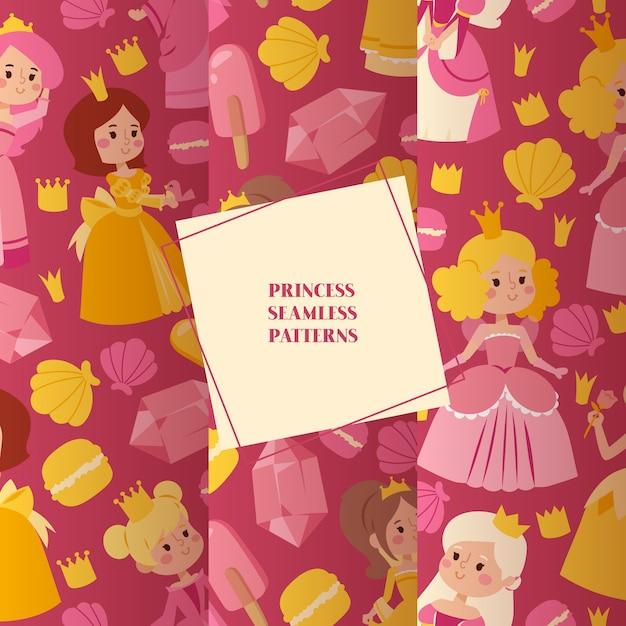 Маленькие принцессы в вечерних платьях набор бесшовных узоров Premium векторы