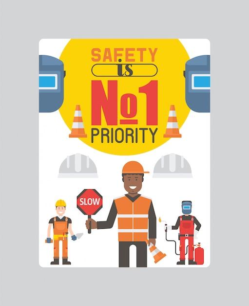 労働者のビルダーとエンジニアのツールまたは機器のポスター。ヘルメットと作業服の労働者は道路標識を保持しています。 Premiumベクター