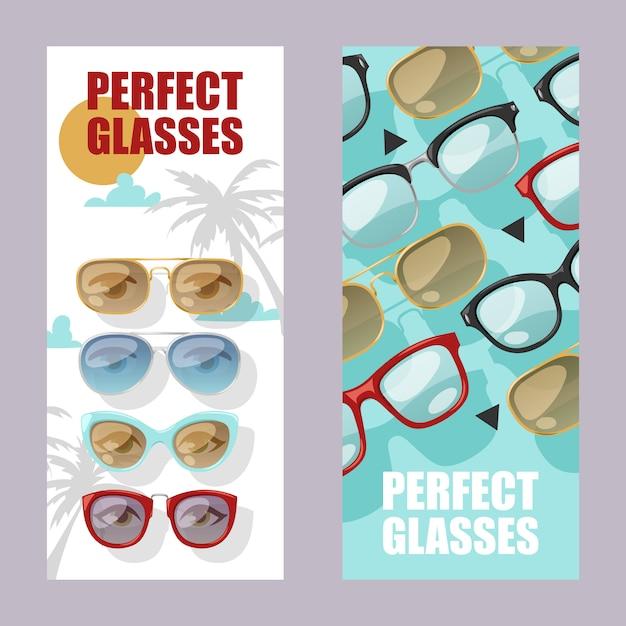 Солнцезащитные очки модный аксессуар набор баннеров солнцезащитные очки пластиковая оправа современные очки Premium векторы