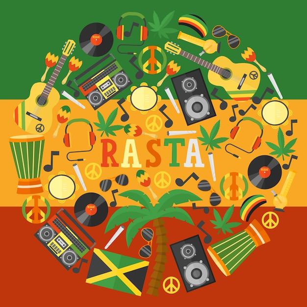 Ямайские растафарианские иконы в круглой рамочной композиции Premium векторы