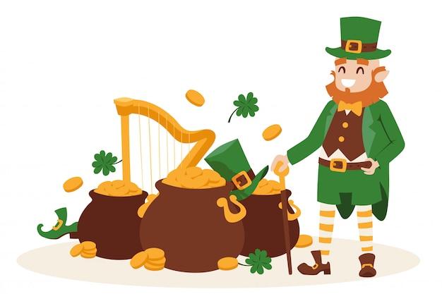 聖パトリックの日レプラコーンアイルランド幸運のシンボルと漫画のキャラクターを笑顔 Premiumベクター