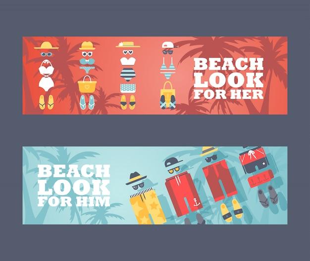 ビーチでの夏休み Premiumベクター