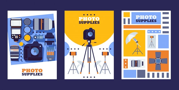 Магазин фототоваров баннеры магазин фототоваров магазин профессиональных товаров Premium векторы