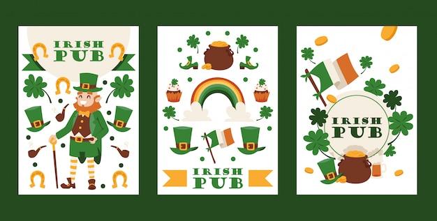 Ирландский паб баннеры день святого патрика фестиваль традиционный праздник в ирландии Premium векторы