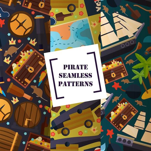 海賊船のマップ属性の大砲の海賊属性シームレスパターンフラットアイコンシンボル Premiumベクター