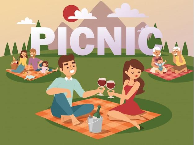 夏のピクニックの人々 Premiumベクター