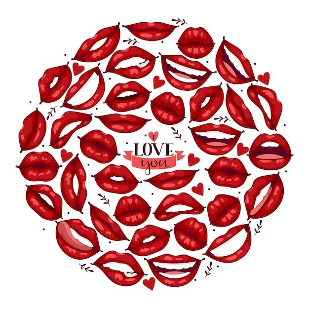唇パターン漫画キスや笑顔のファッションの口紅で美しい赤い唇 Premiumベクター