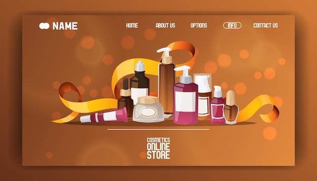 美容化粧品店着陸ページフラットイラスト。 Premiumベクター
