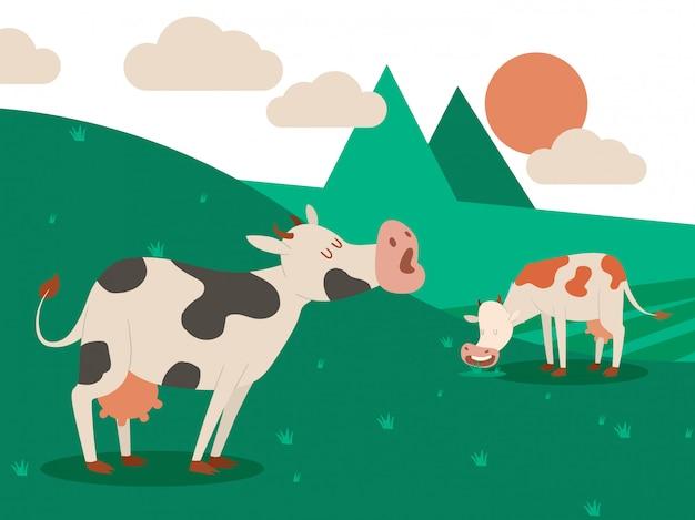 Молочная ферма и стадо коров на красивый летний пейзаж. корова ест траву. иллюстрации. Premium векторы