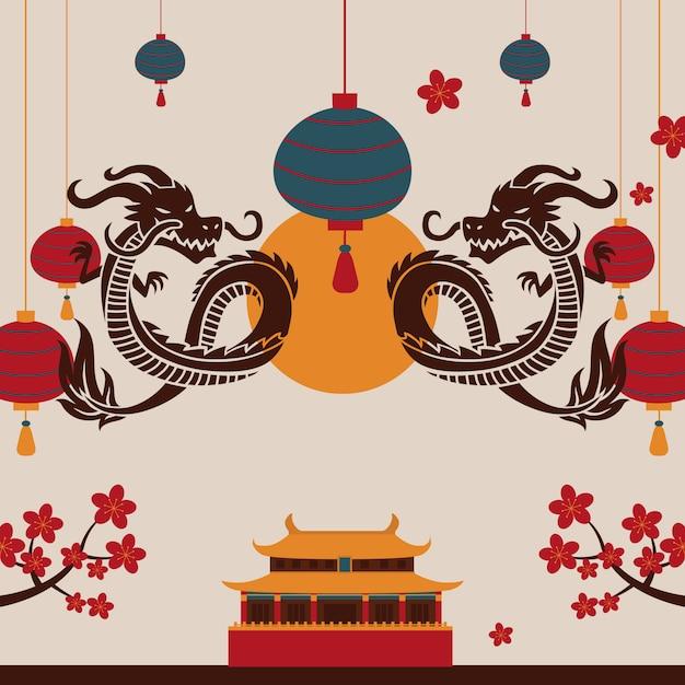 Китайский дракон традиционная восточная сцена Premium векторы