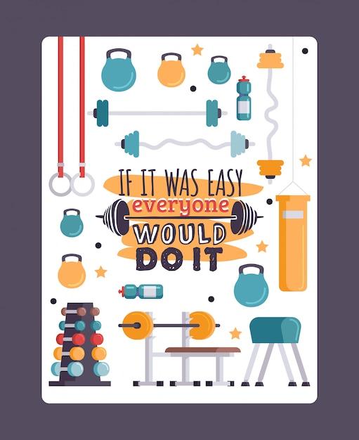 Вдохновляющие учебные иллюстрации, тренажерный зал с мотивационной цитатой Premium векторы