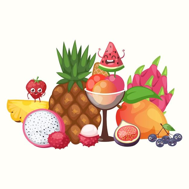 Экзотические тропические фрукты, Premium векторы