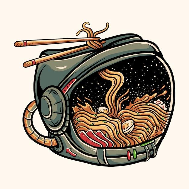 宇宙飛行士のヘルメットの中のラーメン Premiumベクター
