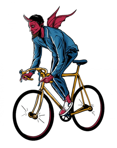 Дьявол езда на велосипеде иллюстрация Premium векторы