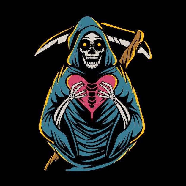 Мрачный жнец держит сердце Premium векторы