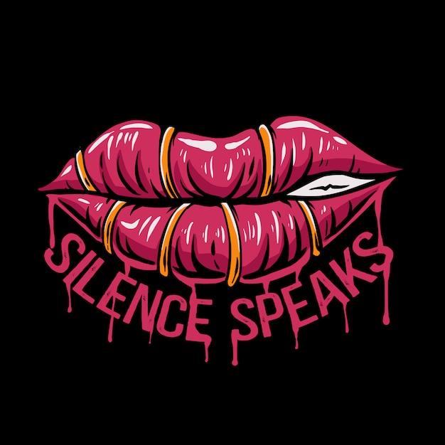 Молчание губ говорит на иллюстрации Premium векторы