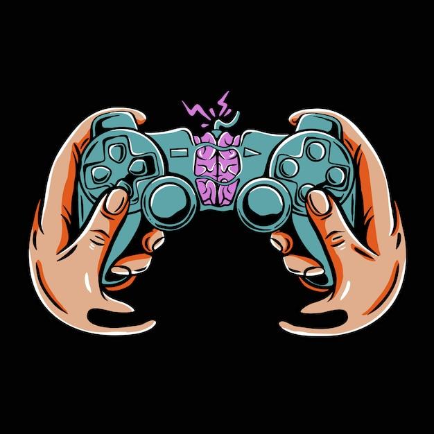 Игровой контроллер с мозгом внутри Premium векторы