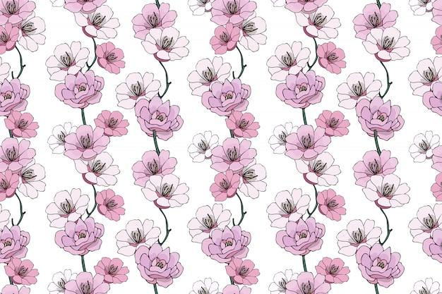 ベクトルシームレスな孤立した自然主義的な花柄。 Premiumベクター