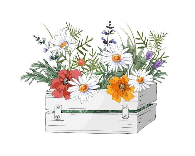 庭の木製の白いボックスにベクトル庭の花 Premiumベクター
