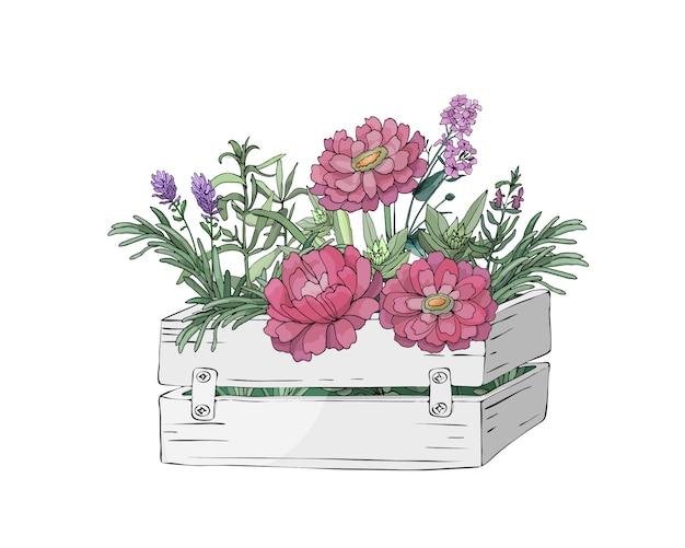 庭の花と木箱と農場の新鮮な料理用ハーブの葉 Premiumベクター