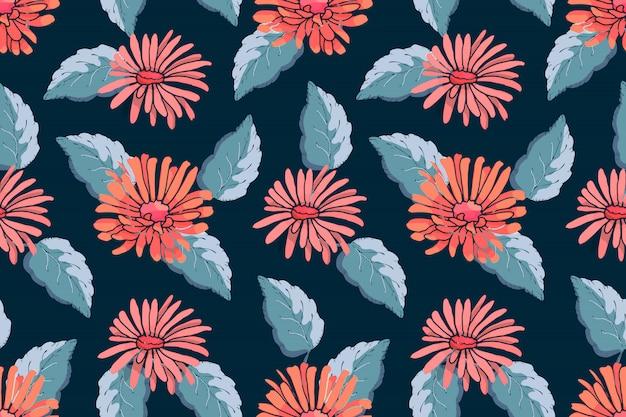 アート花のベクトルのシームレスなパターン。深い青に青い葉と赤いアスター Premiumベクター