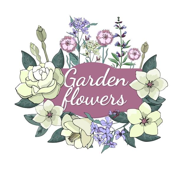 季節の美しい庭の花のセットです。 Premiumベクター