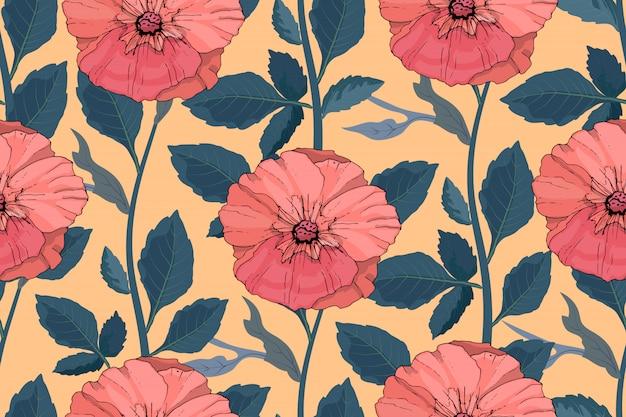 アート花ベクトルシームレスパターン。美しいベクターの夏の花。サンゴ色マロー Premiumベクター