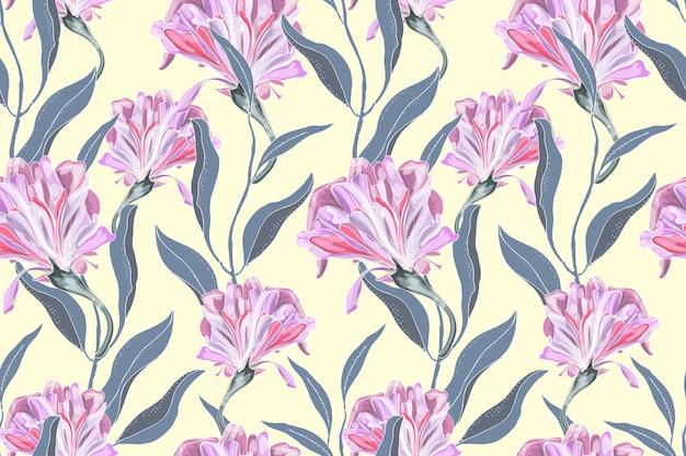 アート花のベクトルのシームレスなパターン。繊細なピンクのサツマイモ(朝顔) Premiumベクター