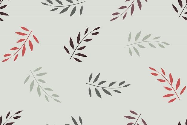 アート花のベクトルのシームレスなパターン。ライトグレーに分離された葉と赤、オリーブの枝。ファブリック、壁紙デザイン、包装紙用。 Premiumベクター