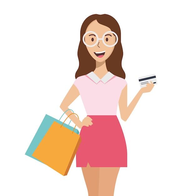 幸せな若い女の子の買い物客。女の子はパッケージとクレジットカードを手に保持しています。 Premiumベクター
