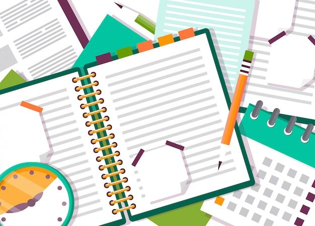 ノート付きの開いているノートブックまたは日記。 Premiumベクター