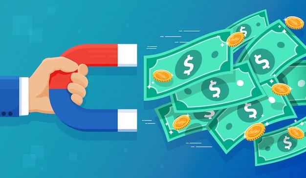 Магнит и деньги иллюстрация Premium векторы