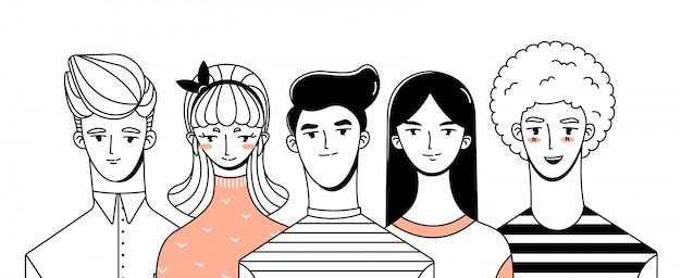 Девочки и мальчики персонажи Premium векторы