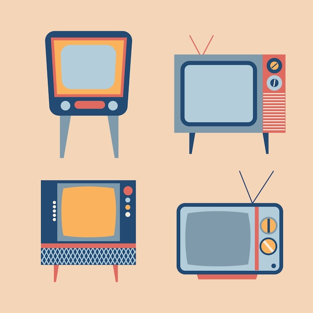レトロなテレビの項目が設定します 無料ベクター