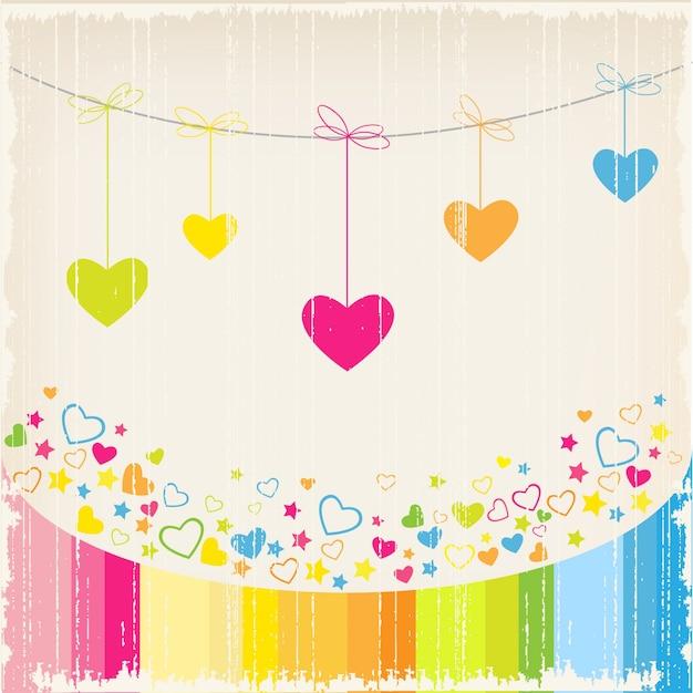 Любовь фон с сердцем Бесплатные векторы