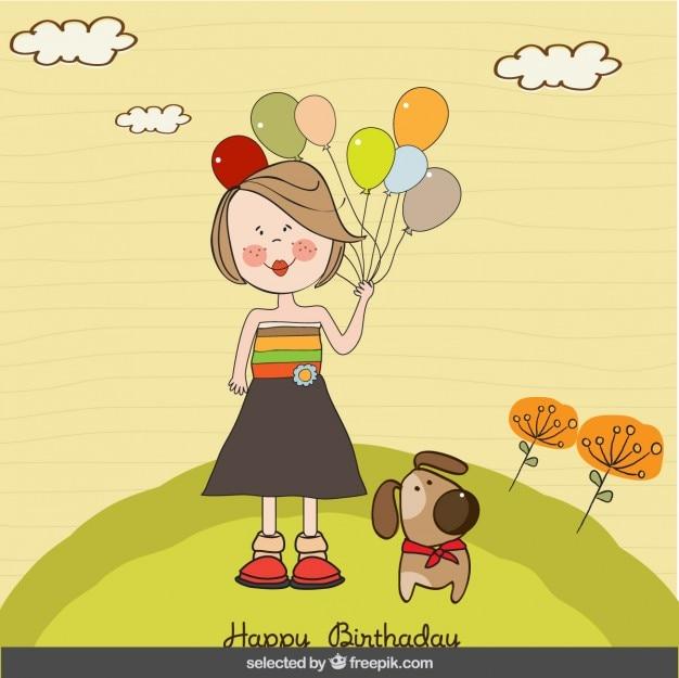 風船や犬のバースデーカードを持つ少女 無料ベクター