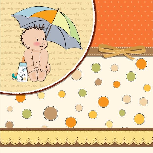彼の傘の下で面白い赤ちゃんとベビーボーイシャワーカード Premiumベクター