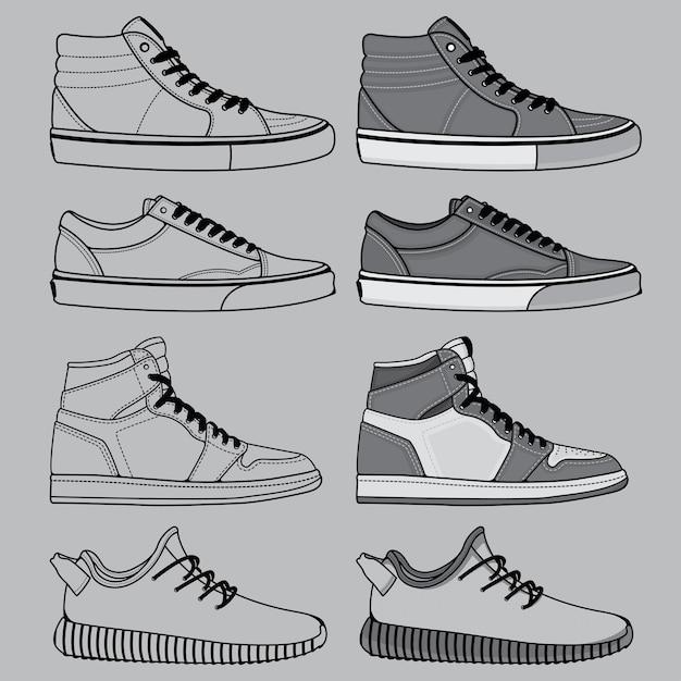 Наброски набора обуви Premium векторы