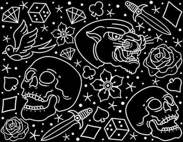 Бесшовные традиционные татуировки флэш Premium векторы